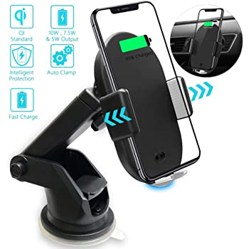 Samsung Galaxy 10w and Other 5w Fast Charging Cell Phone Compatible with iPhone 7.5w Dashboard Motic53 Air Vent Holder Attachment Wireless Car Fast Qi Charger Mount Automatic Clamping