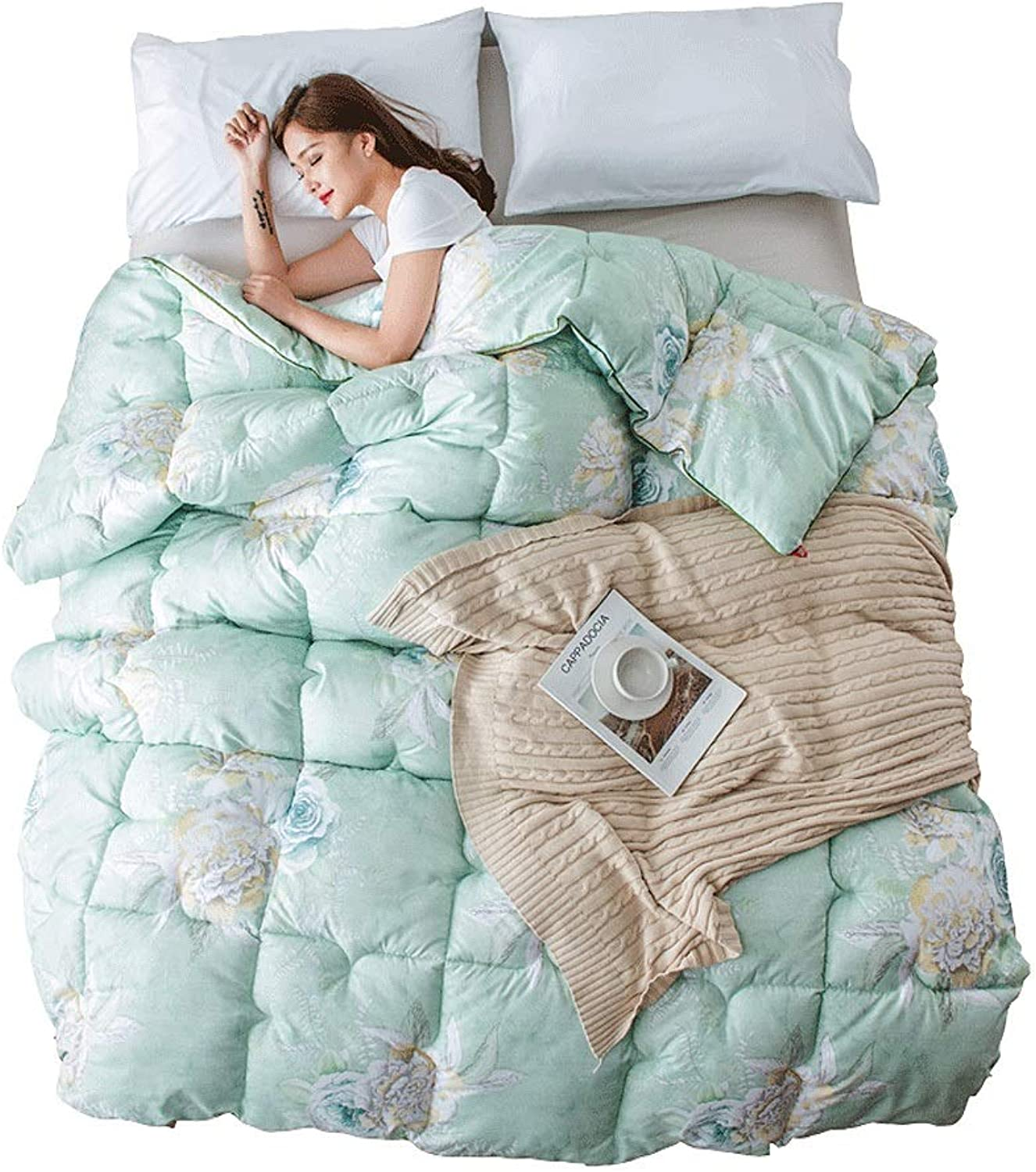 Quilt Green Cotton Quilted Comforter with Corner Tabs Cotton Fabrics Thicken Warm and Soft for All Season All-Season Quilted Comforte Rhypoallergenic (Size   220cmx240cm3.5kg)