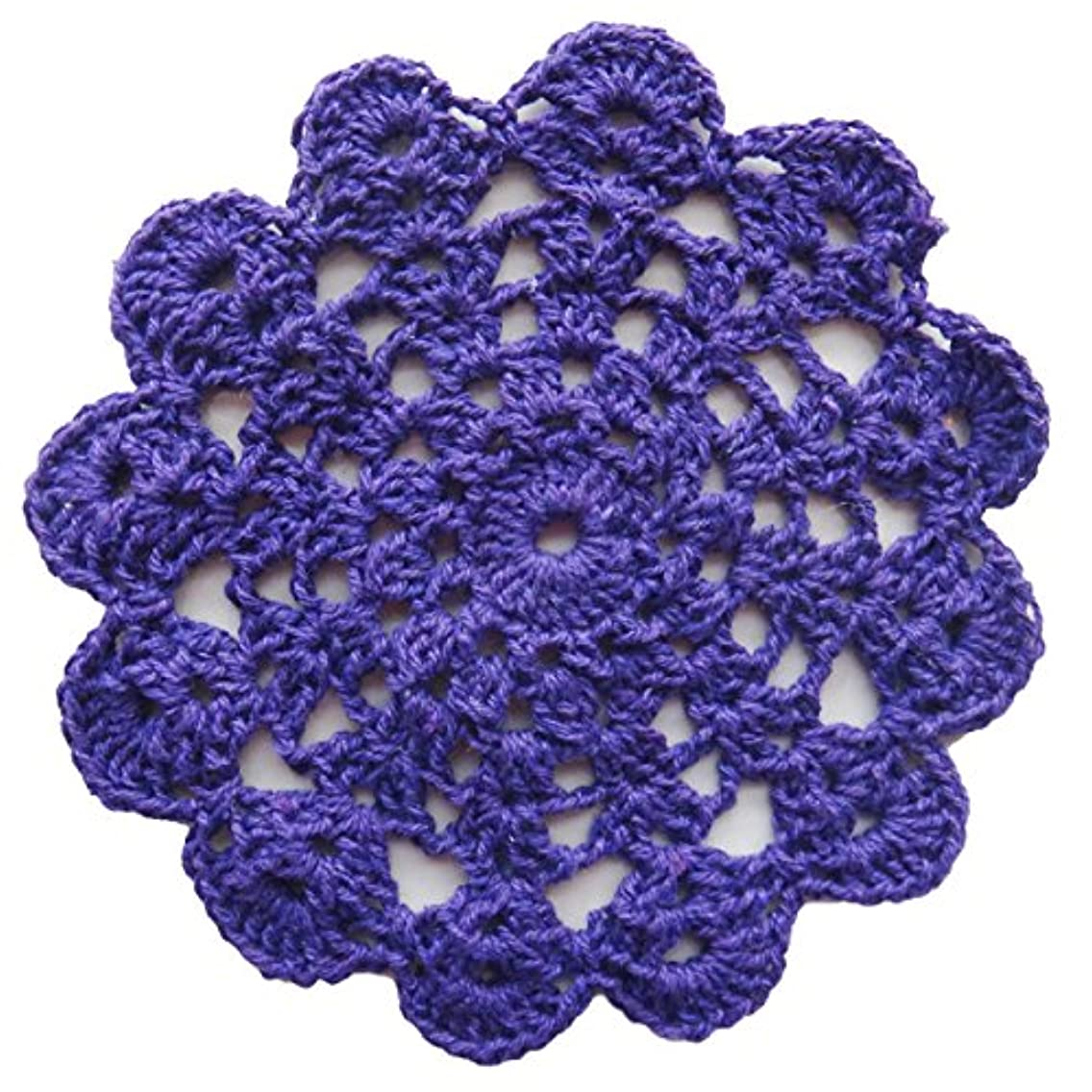 YoumeHome Linen Crochet Lace Placemats Doilies Handmade Cotton Round 6.3 inches(16 cm) (Pack of 6) (Dark Purple)