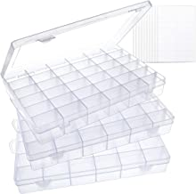 SGHUO 3 Pack 36 Grids Clear Plastic Organizer Box Storage Container Jewelry Box with Adjustable Dividers for Beads Crafts ...