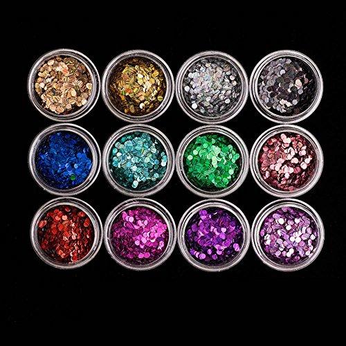 MZP Dentition des ongles Décorations Vernis à ongles Traitement de la colle Gradient Poudre éclair Violet à 12 couleurs , 01 beads pack