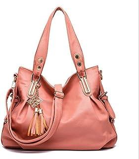 Pu handbag, soft leather shoulder bag, simple crossbody bag, travel bag, multi-layer structure design, can accommodate mobile phones, umbrellas, etc. (Color : Pink, Size : One size)