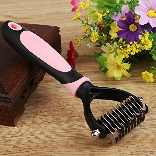 Pet Undercoat Rake, saplit Outils Professionnels Dematting, Grooming Stripping Comb pour chiens Cats, 11 Teeth Wide Brosse pour animaux domestiques (rose)