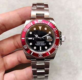 CWTCHY Luxury Brand Men Watch 40mm Stainless Steel Red Ceramic Bezel Automatic Movement Mechanical Watches Original-Buckle Watch