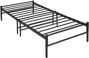 EGGREE Lit Simple Lit Cadre de lit en Métal 90x190cm Lit D'école 90 x 190cm Noir