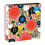 """Galison Eyes in The Garden Jigsaw Puzzle, 500 Pieces, 20""""x20"""" – Bright and Cheerful Illustration of Flowers, Shapes and Watchful Eyes – Challenging, Perfect for Family Fun – Fun Indoor Activity"""