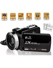 ビデオカメラ  デジタルカメラ 2.7K HDR  24MPHD1080P WIFI機能 16倍デジタルズーム  IR夜視機能   SDカード(最大128GB) サポート128GBカード対応 予備バッテリーあり  3.0インチタッチモニター  日本語取扱説明書  (2400万画素)