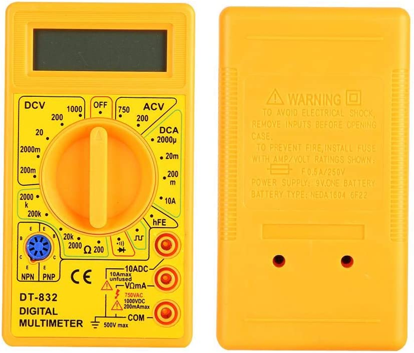 DT-832 Free shipping on posting reviews Digital Resistance Year-end gift Tester Multimeter LCD Display with Di