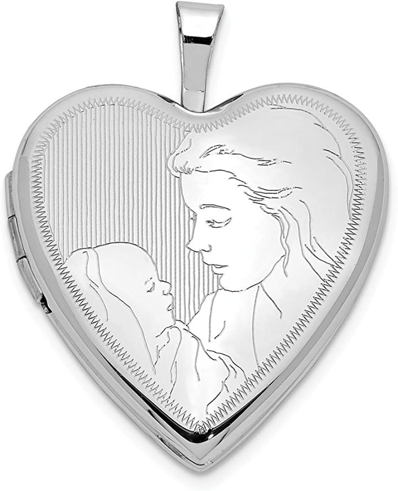 14k 20mm White Gold Mother Child Heart Photo Pendant Charm Locket Chain Necklace That Holds Pictures Fine Jewelry For Women Gifts For Her