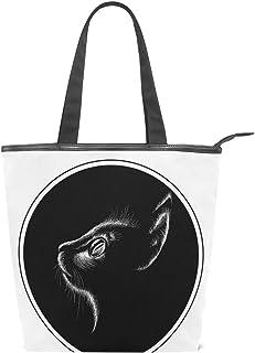 キャンバス バッグ トートバッグ 多機能 多用途2way黒い猫 ショルダー バッグ ハンドバッグ レディース 人気 可愛い 帆布 カジュアル 多機能 両用トートバッグ ァスナー付き ポケット付 Natax
