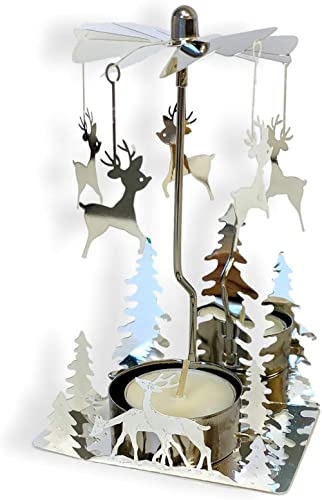 BANBERRY DESIGNS Spinning Metal Candle Holder - Reindeer Charms Spin Around When Candle is Burning - Christmas Trees ...