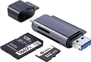 HABBIBI Tri SD Card Reader USB 3.0/Micro-USB 3.0 A, USB C Dual Slot Memory Card OTG Adapter for SD/Micro SD/SDHC/SDXC/MMC/...