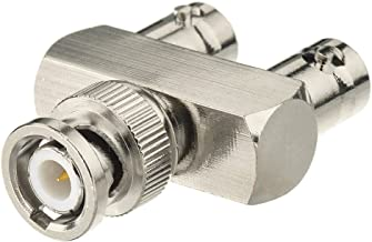 Eightwood BNC Splitter Adapter BNC Male to Dual BNC Female Tee Type 3 Way Audio RF Coax Connector