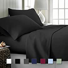 Cok Luxury Bedding 4 Piece Sheet Set- 1800 Premium Soft Bed Sheet Set, Deep Pocket, Breathable, Wrinkle and Fade Resistant -1 Fitted Sheet, 1 Bed Sheet and 2 Pillowcases Queen Black