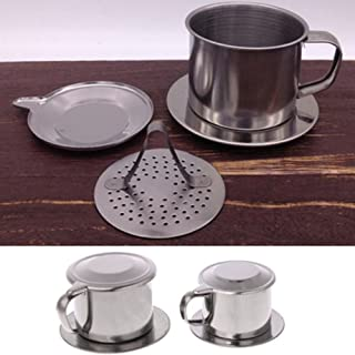 Loose Tea Infuser, Maserfaliw Vietnamese Stainless Steel Coffee Filter Cup Drip Maker Infuser with Handle - S:8x5cm/3.15x1.97