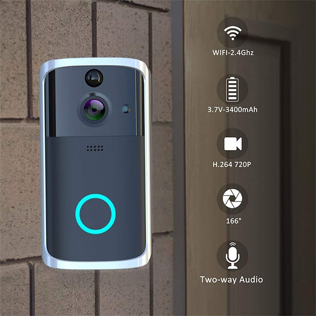Firespit M7 1080P Smart WIFI Security Doorbell Wireless Video Phone Camera Night Vision