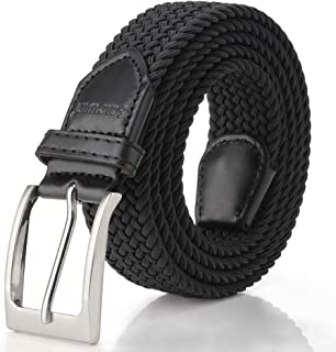 Fairwin Elastic Braided Belt, 1.3'' Wide Stretch Belt,Fabric Woven Men/Women Novelty Belt (7 Colors)