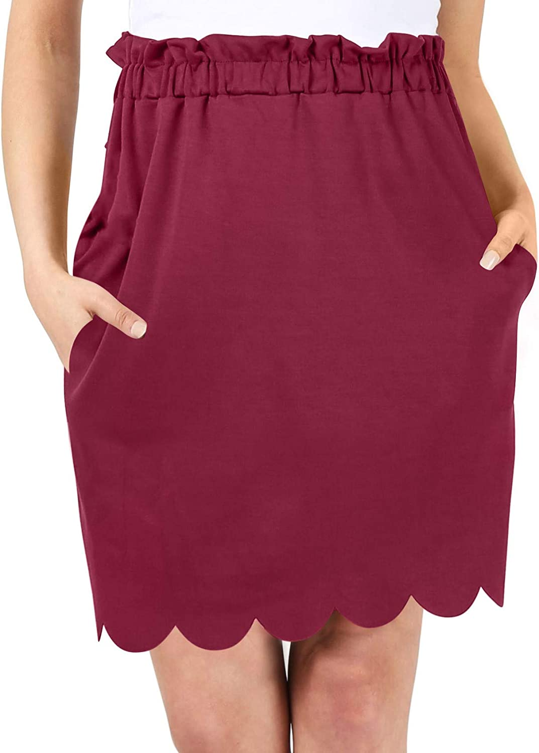 High Waisted Above The Knee Scalloped Pencil Skirt for Women with Side Pockets  Made in USA