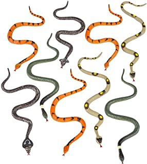 Kicko 6 Inch Assorted Small Hissing Snakes - 12 Pieces, Practical Joke, Venue Prop, Party Supply, Idea, Magic Show, Carnival Game Prizes, Squirrel Bird Deterrent, Bath Time Companion, Science Project