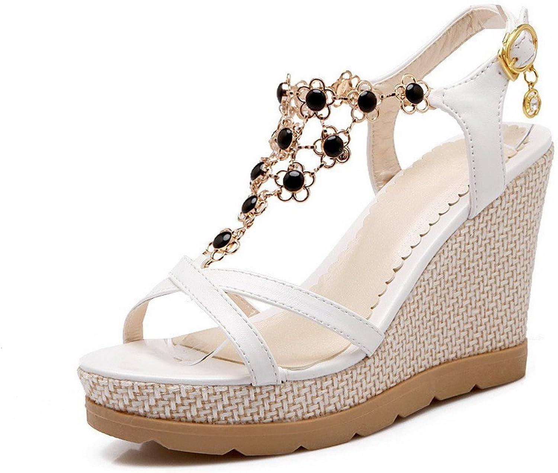 AllhqFashion Women's Open Toe High Heels Buckle Solid Sandals
