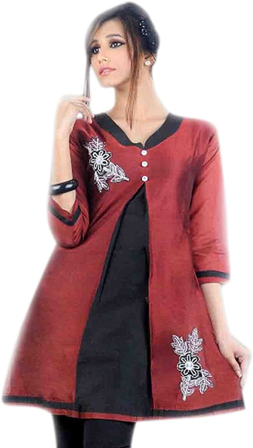 1545 Designs Women's Red Silk Cotton Button Work Top