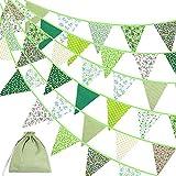 Verde Guirnalda de Banderines,Banderines de Tela,Guirnalda Triángulo Fiesta,Verde Triángulo Banner Clásico Chic Decoración Para Boda Fiesta de Cumpleaños Decoración de Jardín Actividad Exterior