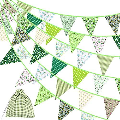 Verde Guirnalda de Banderines,Banderines de Tela,Guirnalda Triángulo Fiesta,Verde Triángulo Banner Clásico Chic...
