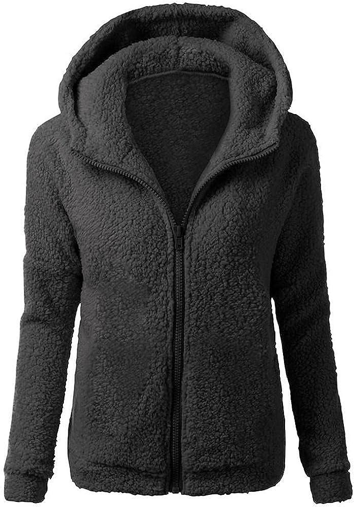 Women's Double-Sided Fleece Fluffy Hooded Windbreaker Coat Winter Warm Overcoat Wool Zipper Solid Jacket Outwear Trench