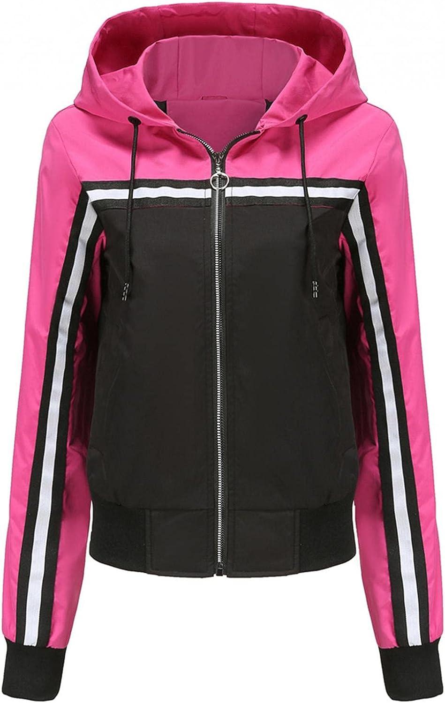 Xinantime Women's Color Block Outerwear Long Sleeve Hooded Drawstring Coat Ladies Zipper Casual Jacket Sport Jacket Cardigan