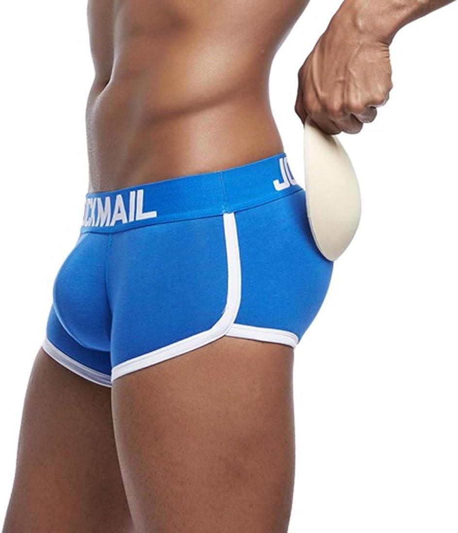 YUENA CARE Men's Boxer Briefs Butt Padded Elastic Truncks Enhancement