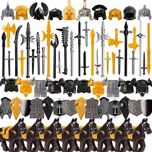 LICI Juego de armas de tamaño mini militar, 80 unidades, casco de soldados de Roma medieval, compatible con Lego