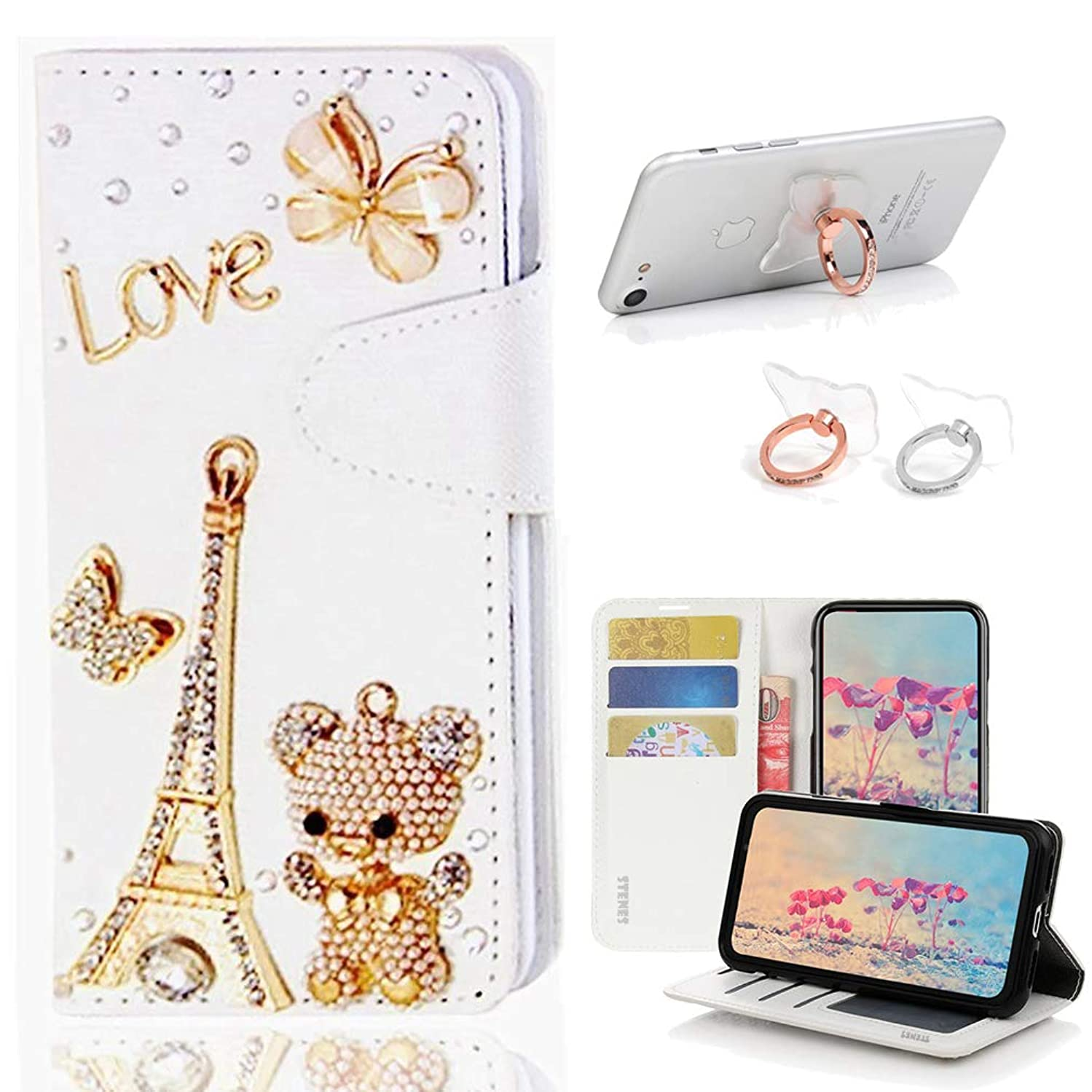 STENES Bling Wallet Case Compatible with Motorola Moto G5S - Stylish - 3D Handmade Eiffel Tower Bear Butterfly Leather Cover with Ring Stand Holder [2 Pack] - Gold