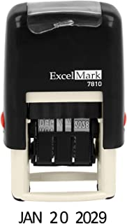 ExcelMark 7810 Self-Inking Rubber Date Stamp – Great for Shipping, Receiving, Expiration and Due Dates (Black Ink)