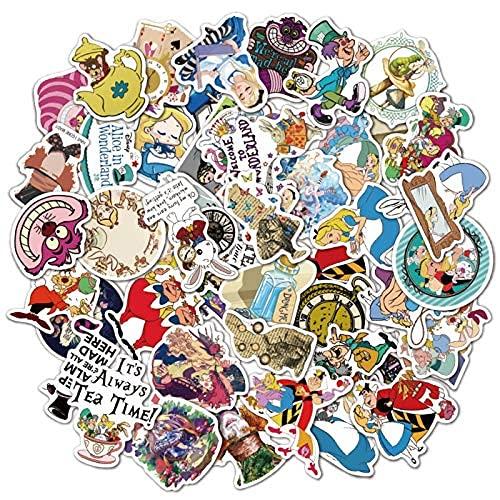 XXCKA Pegatina de Dibujos Animados de Alicia en el país de Las Maravillas, Bonita Pegatina Impermeable para Equipaje, portátil, Nevera, Pegatina para niños, 50 Piezas