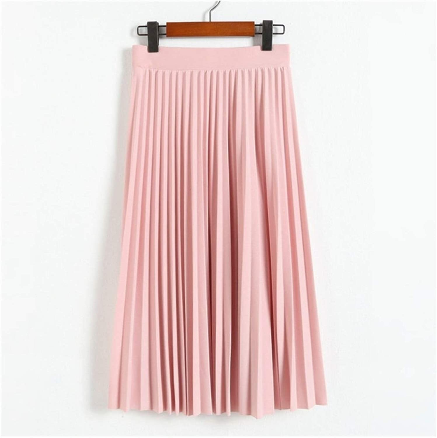 Spring and Autumn Women's High Waist Pleated Solid Color Half Length Elastic Skirt Lady Black Pink (Color : Pink, Size : One Size)