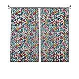 Cortinas opacas de 90 % con diseño de pétalos de la madre naturaleza, de hoja perenne de amapola, estampado de helechos, cortinas plisadas para dormitorio, sala de estar, 120 x 163 cm, multicolor
