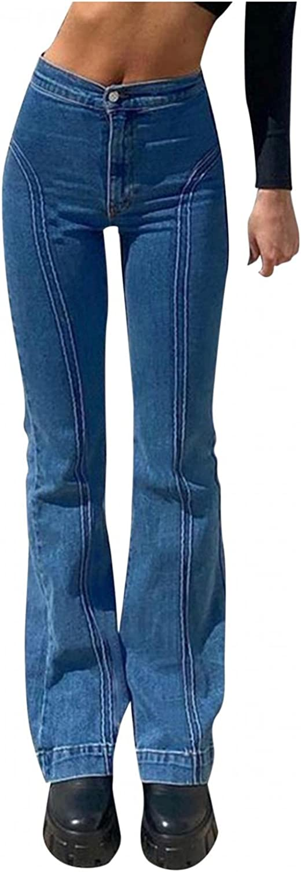 Fashion Y2K Jeans for Women High Waist Jeans Slim Flared Denim Jeans Straight Leg Trousers Vintage 90s E-Girl Streetwear