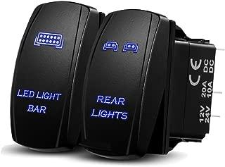 Xislet LED Light Bar Rocker Switches Replace for UTV Polaris Ranger RZR 800-1000 XP Turbo Can Am Commander 800 Maverick X3 Rear Lights UTV Rocker Switch, LED Blue Backlit (Combo Package) (Blue)