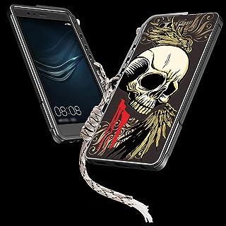 Linannau アームフレーム携帯電話シェルスカルバックプレーン携帯電話フレーム電話ケースfor Huawei P9、P9 Plus、P10、P10 Plus、Mate 9、Mate 10、Mate10 Pro、P20 Pro、P20 (色 : 黒, Edition : Mate 9)