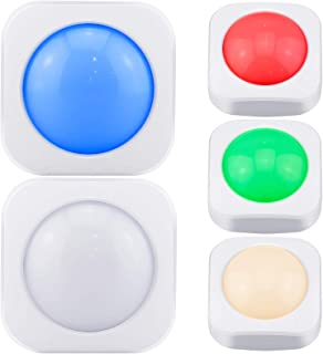 LUXSWAY Wireless Push Button Lights, RGB Night Lights, LED Puck Lights Battery Powered Stick on Lights 4 Color Chaning Lig...