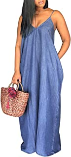 Denim Maxi Dresses for Women,Casual Condole Belt Deep V Neck Loose Dress with Pockets
