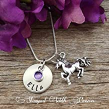 Unicorn Necklace Birthstone Necklace Personalized sister necklace Custom Jewelry little girl necklace gift for her