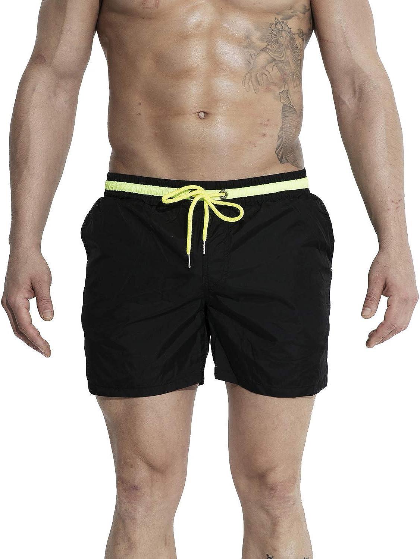 DESMIIT Men's Solid Light Pocket Board Shorts Drawstring Swimming Quick Dry Beach Trunks