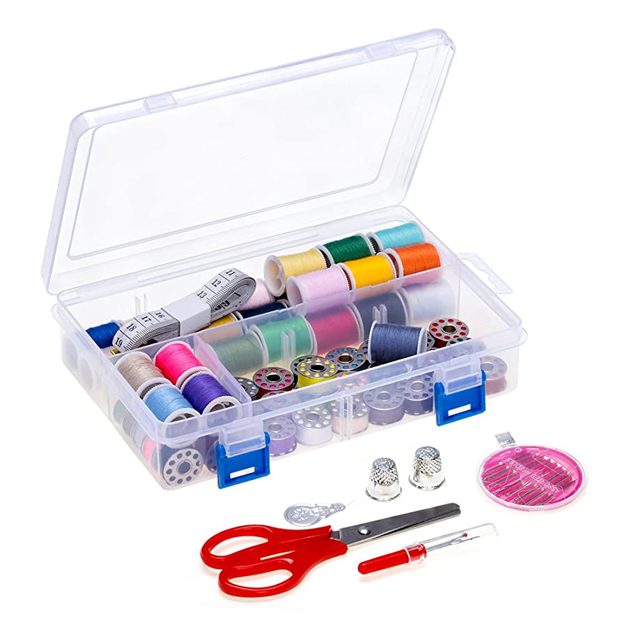 NEX Sewing Thread Set 64 PCS Assorted Sewing Threads with Bobbins Case Thread Spools for Basic Sewing Machine, Emergency and Travel