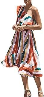 Chaofanjiancai Women's Dresses - Summer Boho Dress Floral Print Button Down A-Line Midi Dress with Belt and Pockets