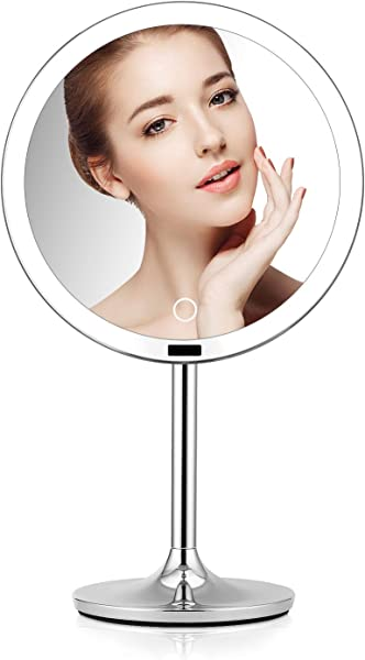 BRIGHTINWD 8 5 Lighted Makeup Mirror With Sensor Makeup Vanity Mirror With Lights Brightness Control Rechargeable And Cordless Polished Chrome Finish