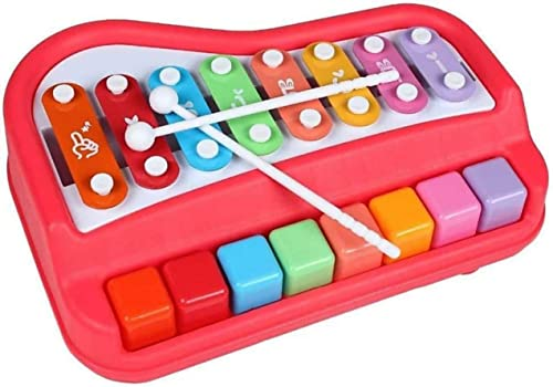 SNNP 2 in 1 Piano Xylophone Educational Musical Instruments 8 Key Scales for Clear Tones with Music Cards Songbook Multi Color