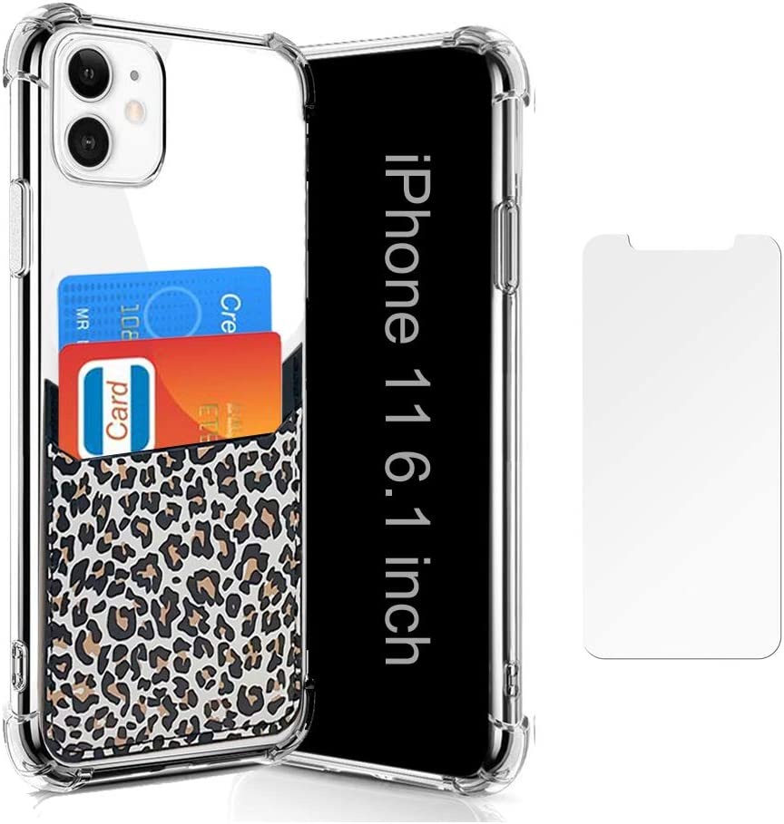 Wallet Slim Case Compatible for iPhone 11 with Card Holder Sleeves Slots Leopard Black Protective Soft TPU Shockproof Clear Case for iPhone 11 6.1 Inch (2019) with Screen Protector