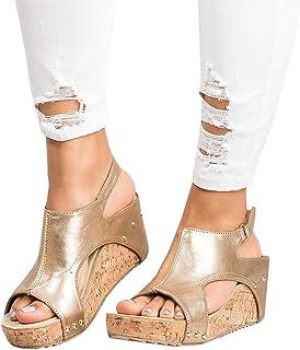 ee6788ae914 Pxmoda Women s Peep Toe Ankle Buckle Gladiator Wedges Sandals Summer  Platform Sandals
