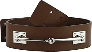 0cfc41246 Gucci Women's Silver Horsebit Nut Brown Leather Horsebit Waist Belt 363024  2548